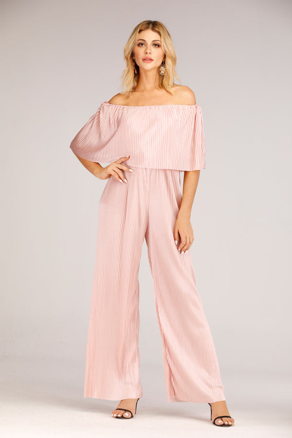 Mantra Pakistan Pink Satin off Shoulder Jumpsuit | DRESS