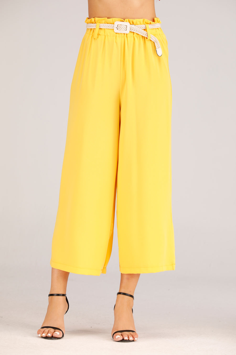 Mantra Pakistan Yellow Flowy Pants with Braided Belt | BOTTOMS