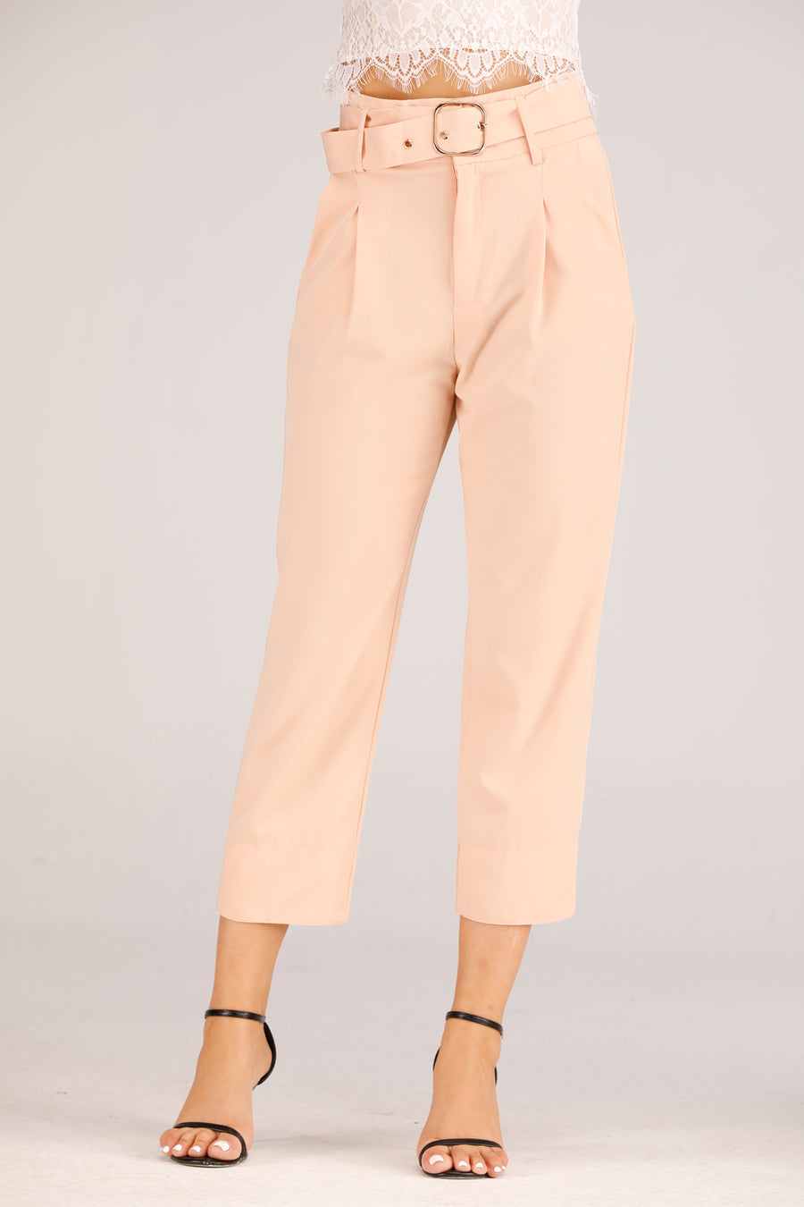 Mantra Pakistan Peach Formal Pants With Belt | BOTTOMS