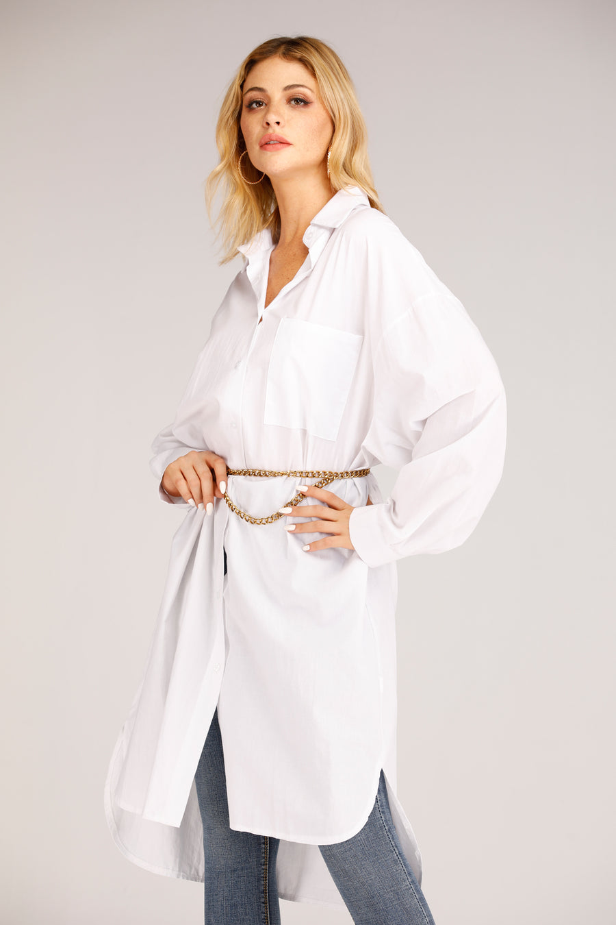Mantra Pakistan White Cotton Button Shirt Dress | DRESS