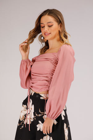 Mantra Pakistan Pink Long Sleeve Top With Drawstrings | TOPS