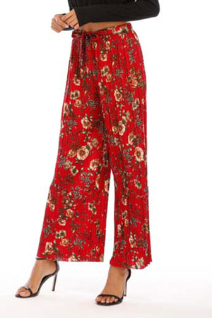 Pleated red floral pants