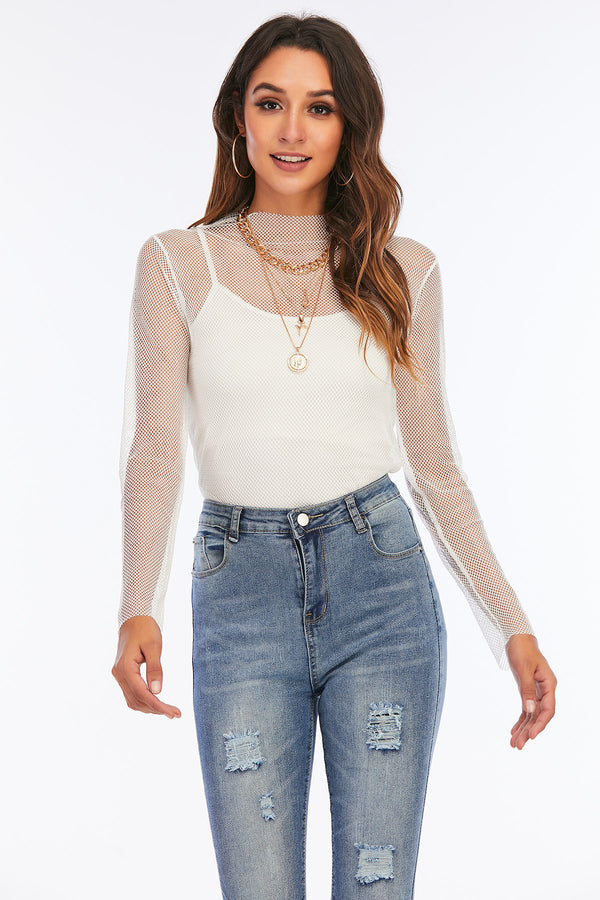 Mantra Pakistan White Fishnet Top | Western Wear