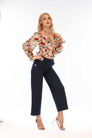 Mantra Pakistan Floral Print Boat Neck Top | Western Wear
