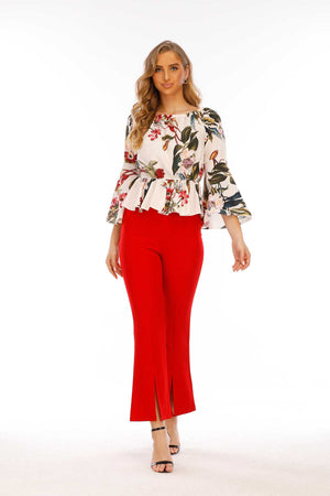 Mantra Pakistan Floral Print Top with Elasticized Waist | Western Wear