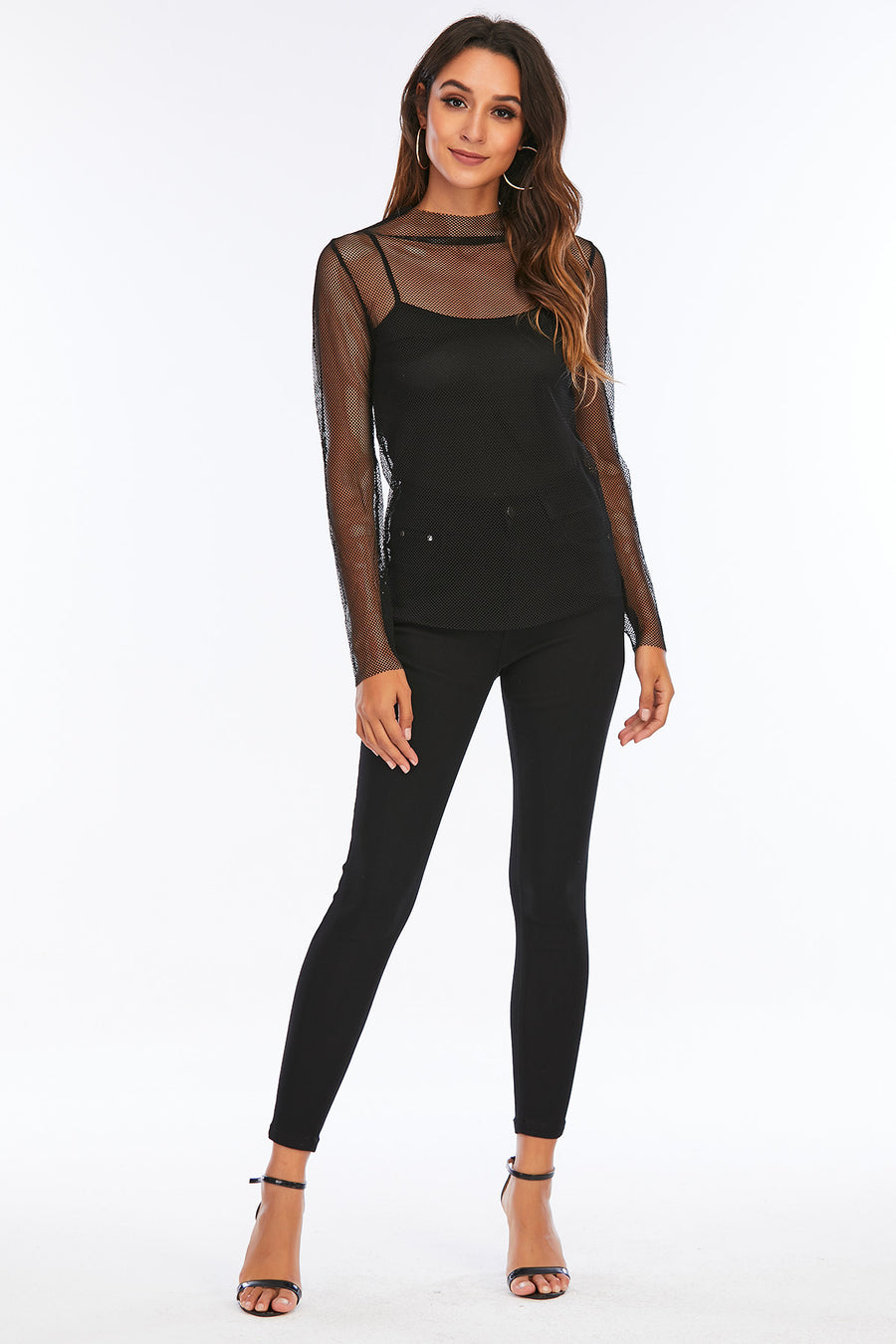 Mantra Pakistan Black Fishnet Top | Western Wear