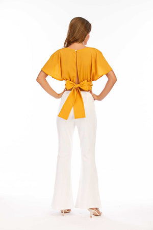 Mantra Pakistan Yellow Top with A Bow | Western Wear