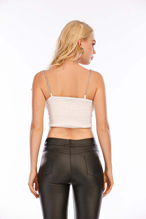Mantra Pakistan Lace Crop Top with Chain Straps | Western Wear
