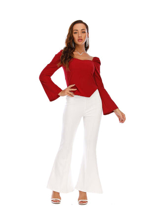 Mantra Pakistan Red Boat Neck Top | Western Wear