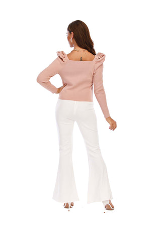 Mantra Pakistan Ribbed Puffy Shoulder Top | Western Wear