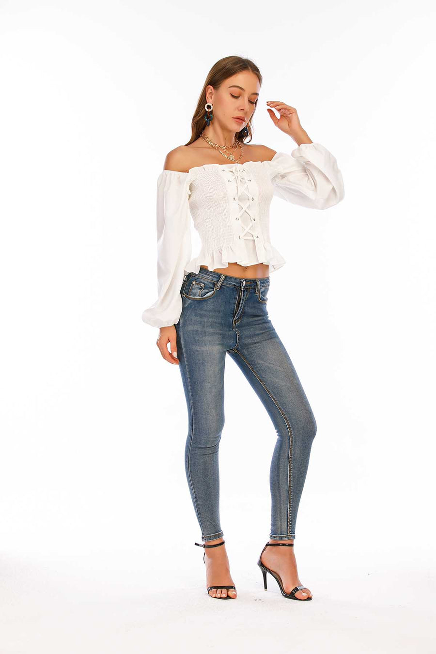 Mantra Pakistan White Smocked Top | Western Wear