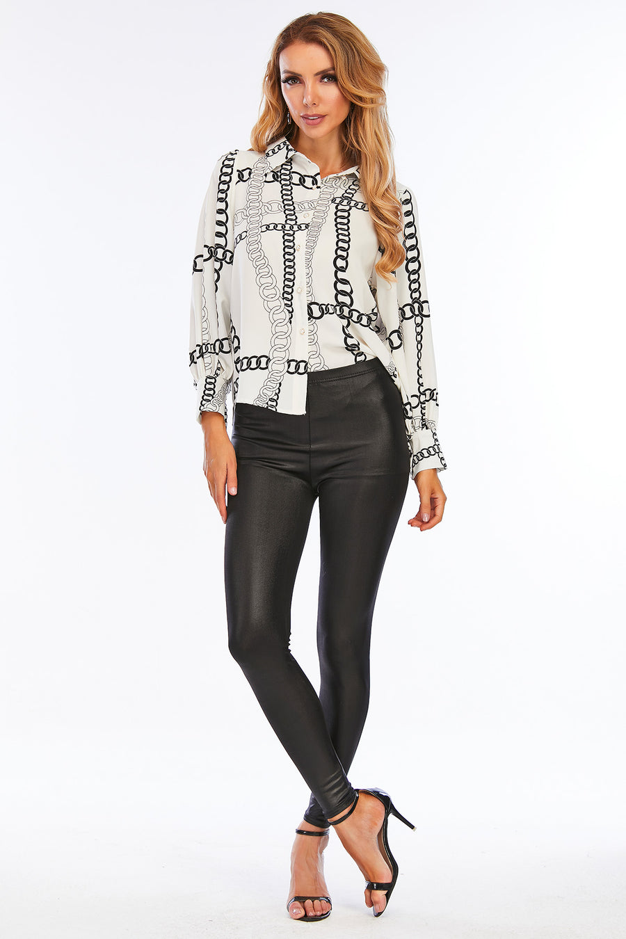Mantra Pakistan Black & White Chain Printed Top | Western Wear