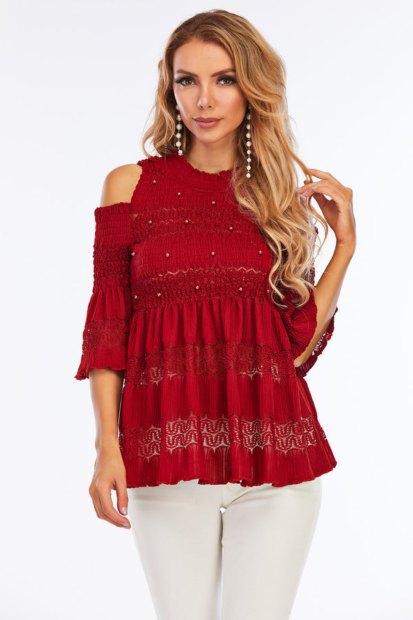 Mantra Pakistan COLD SHOULDER BABY DOLL TOP | Western Wear