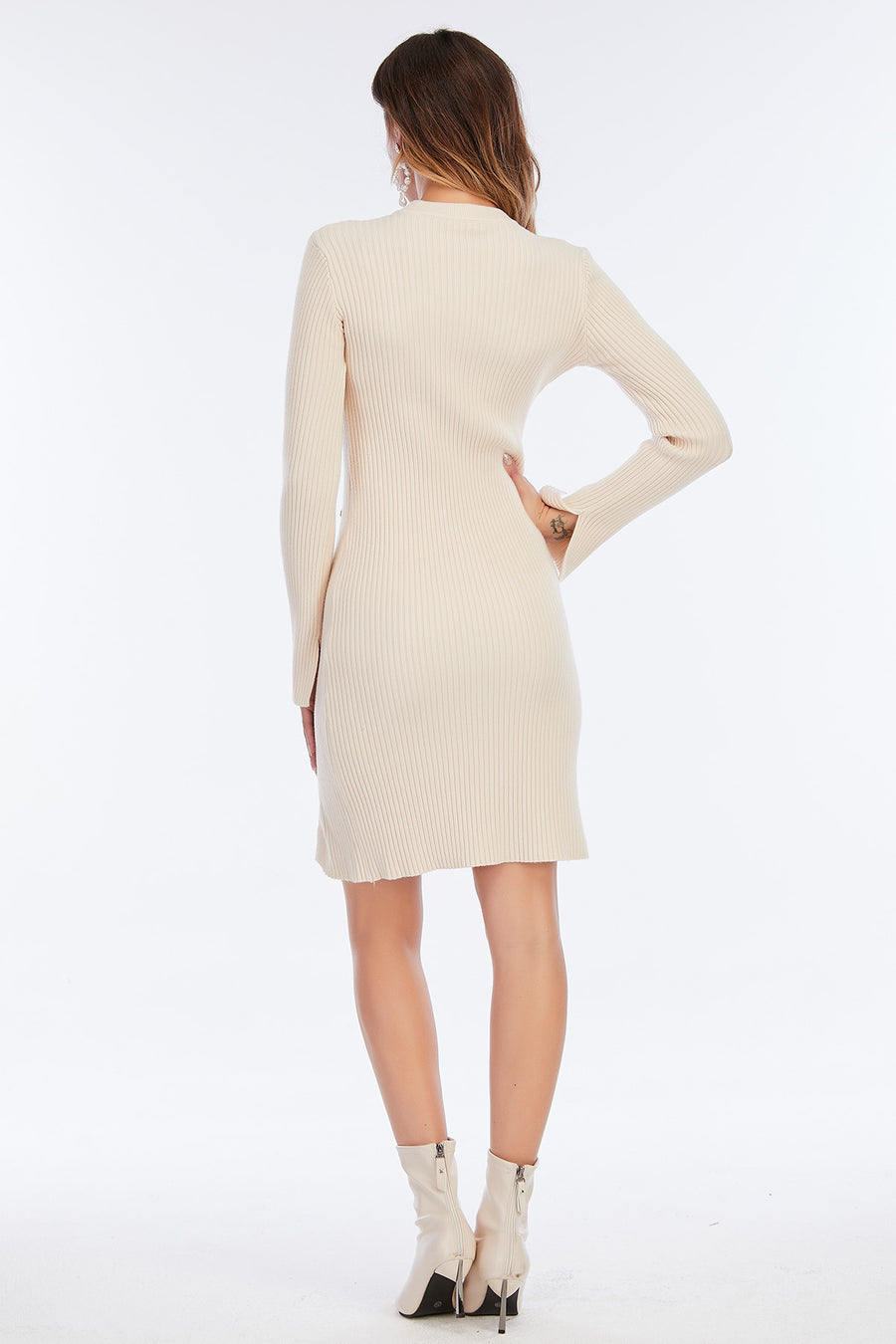 Mantra Pakistan Ribbed Sweater Dress | Western Wear
