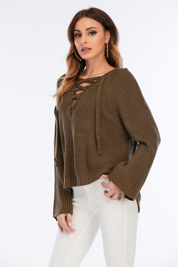Mantra Pakistan Criss Cross Neck Sweater | Western Wear