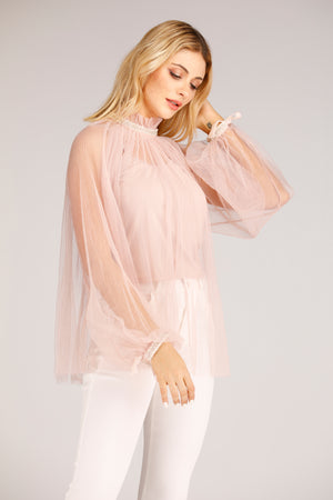 Mantra Pakistan Pink Mesh Top With Beaded Neckline | TOPS