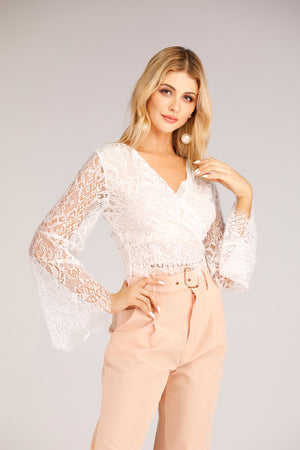 Mantra Pakistan White Lace Top with Flary Sleeves | TOPS