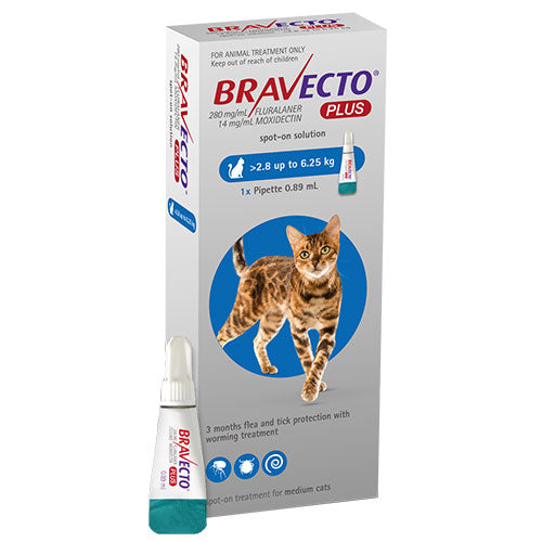 Bravecto Plus For Medium Cats 2.8 - 6.25 kg (6.1 - 13.7 lbs)