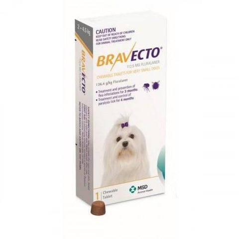 Bravecto Chews For Very Small Dogs 4.4-9.9lbs (2-4.5kg)
