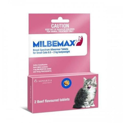 Milbemax Wormer For Kittens and Small Cats 0.5-2kg (1-4 lbs) 2 Tablet Pack