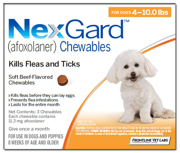 NexGard Chews V-Small Dog 4-10lbs (2-4Kg) 3 Pk
