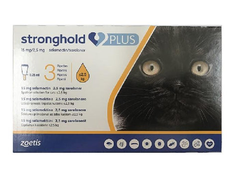 Stronghold Plus 15 mg/2.5 mg spot-on solution for Small Cats ≤ 2.5kg (5.5lbs)