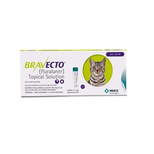 Bravecto 112.5mg Spot-On Solution For Small Cats 2.6-6.2lbs(1.2 - 2.8kg)