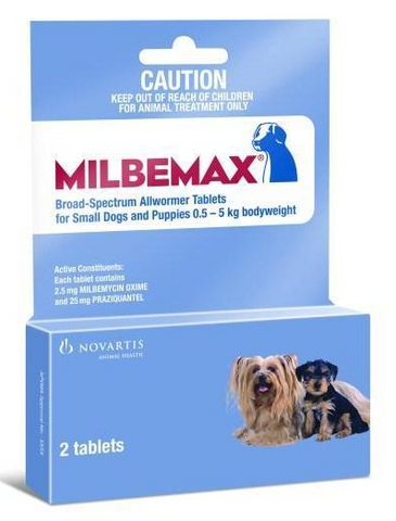 Milbemax Dog Wormer Small - Under 5Kg (11lbs) 2 Tab Pack