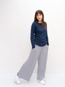Chalk Luna Pants Stripe White/Navy ,White/Charcoal, White/Blue, White/Mustard