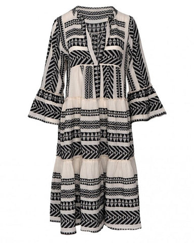 Aztec Boho Dress Black