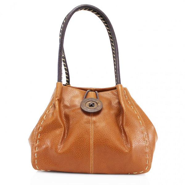 Button Bag in Camel