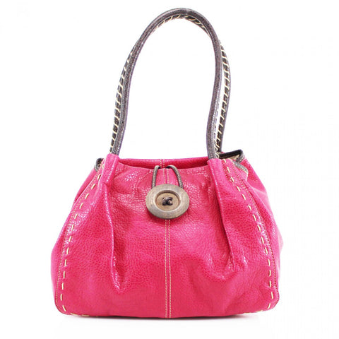 Button Bag in Fuschia