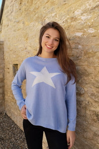 Cashmere Star Jumper Soft Blue/White by Luella
