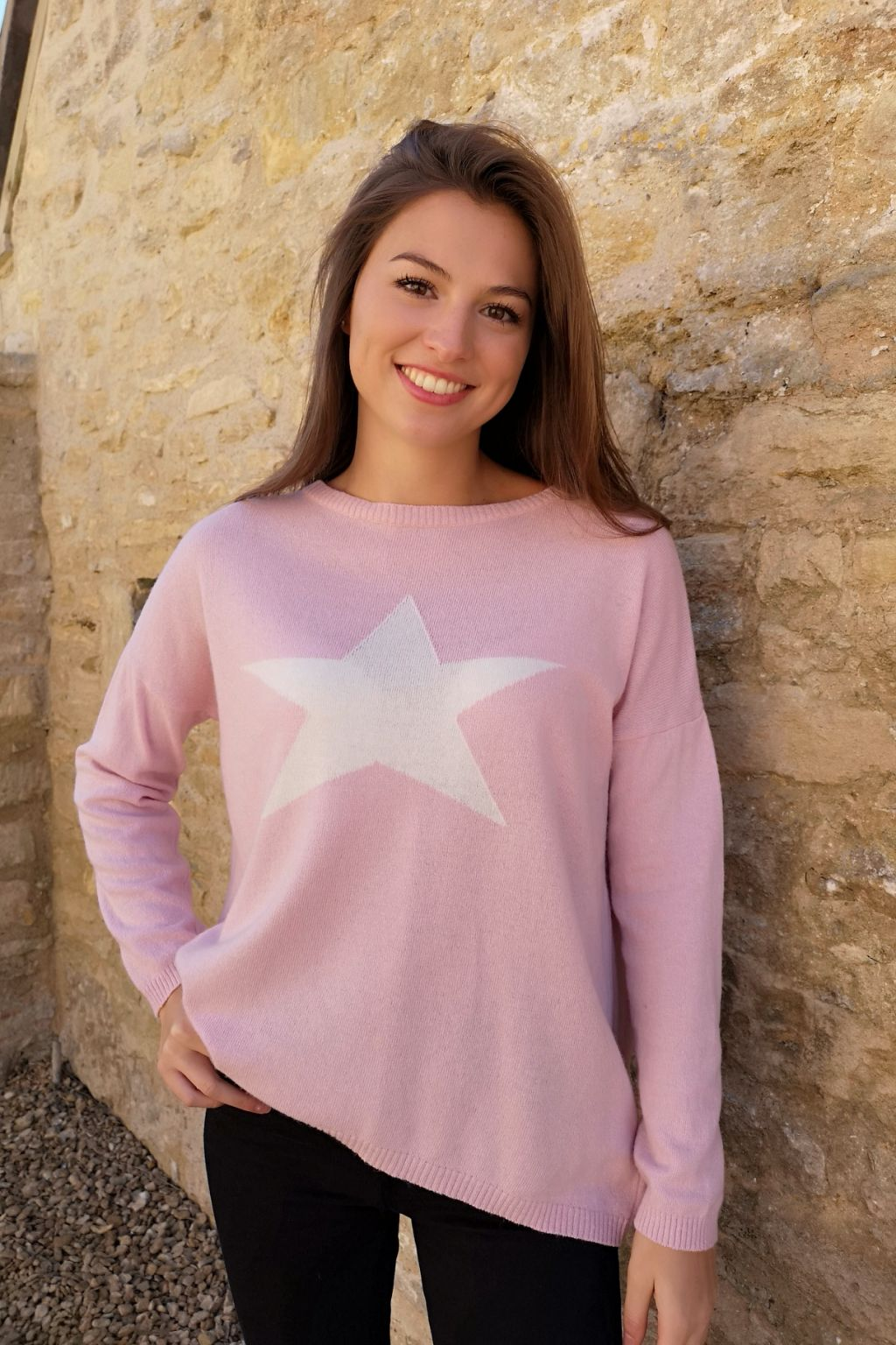 Classic Cashmere Blend Pink Star Jumper by Luella