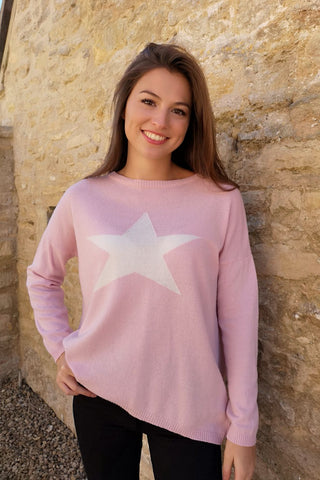 Cashmere Star Jumper Pale Pink/White by Luella