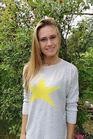 Cashmere Star Jumper Silver/ Yellow by Luella