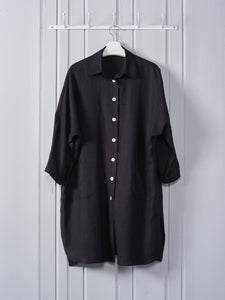 Chalk Lisa Linen Coat in Black