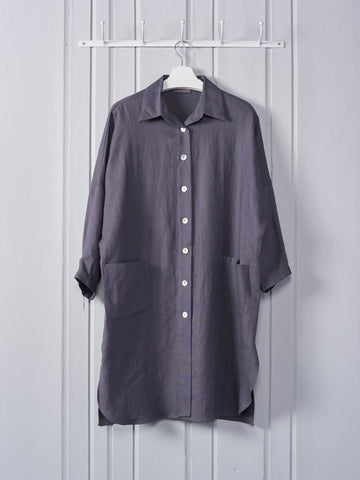 Chalk Lisa Linen Coat in Charcoal