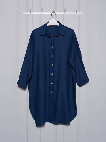 Chalk Lisa Linen Coat in Navy