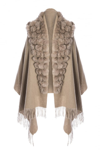 Wool Wrap with Fur Pom Poms Beige by Jayley