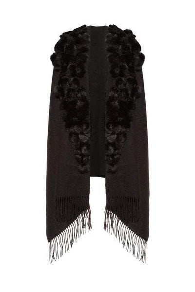 Wool Wrap with Fur Pom Poms Black by Jayley
