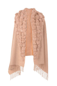 Wool Wrap with Fur Pom Poms Pink by Jayley