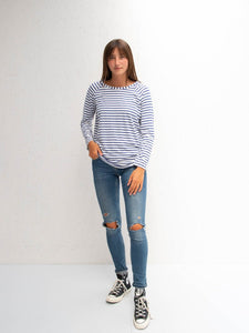 Chalk Tasha T-Shirt | Stripe | Blue