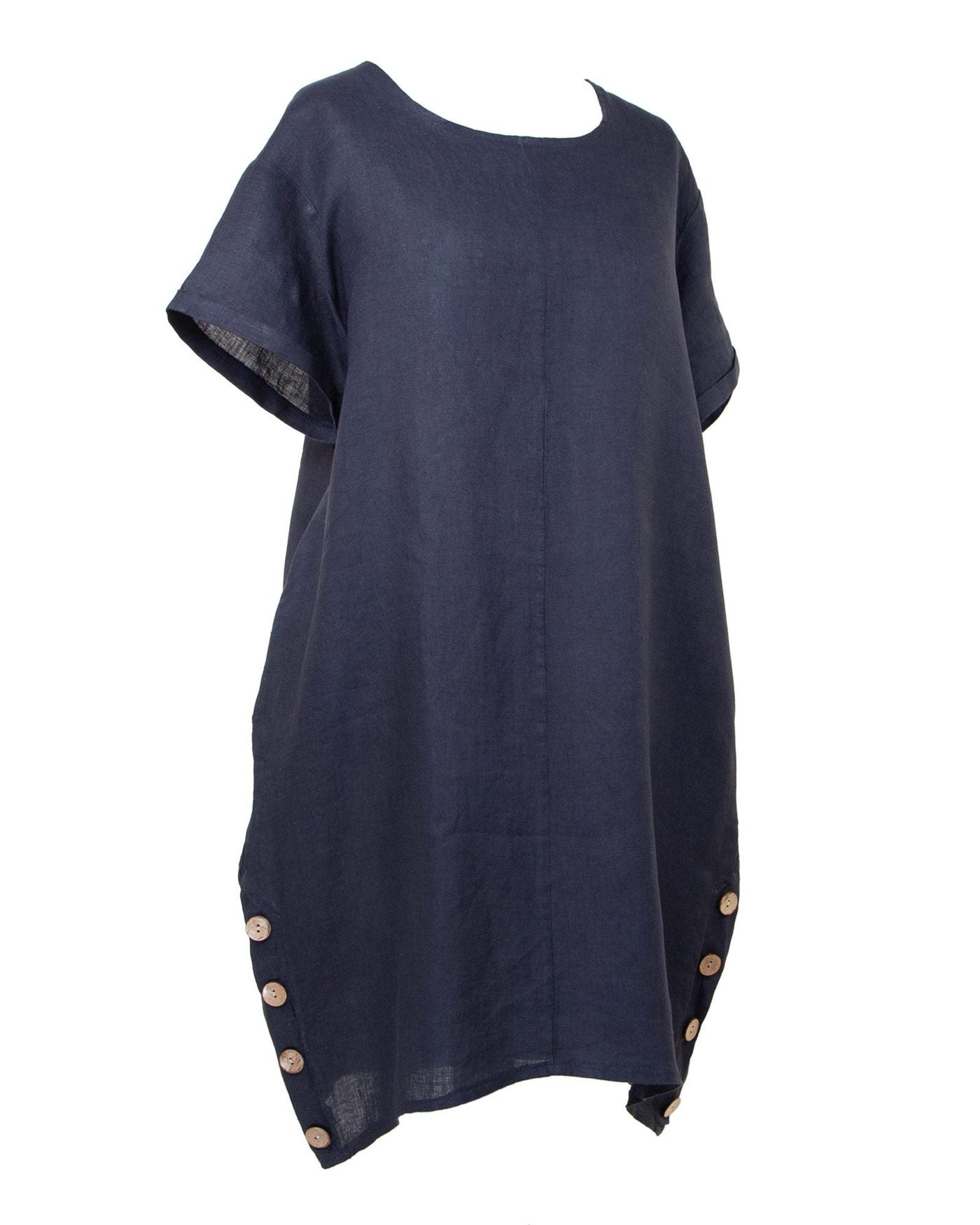Cadenza Italy Casual Linen Dress with Buttons - Navy Blue