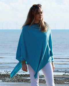 Cadenza Italy Classic Cashmere Blend Poncho - Duck Egg Blue