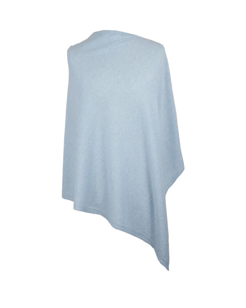 Cadenza Italy Classic Cashmere Blend Poncho - Ice Blue