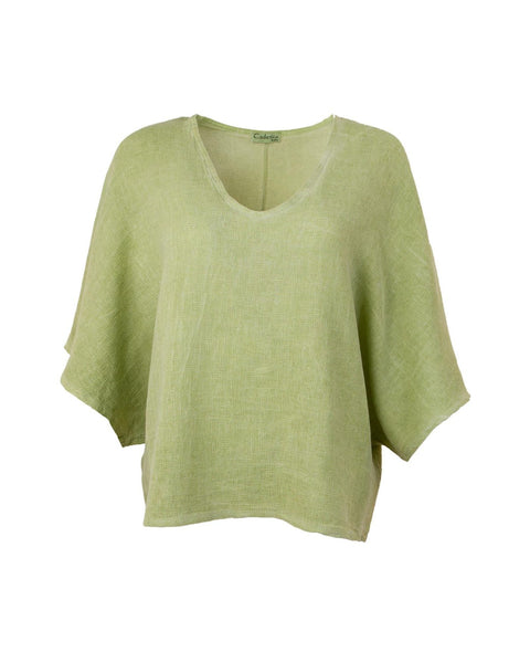 Cadenza Italy Cotton and Linen Mix Top - Kiwi Green