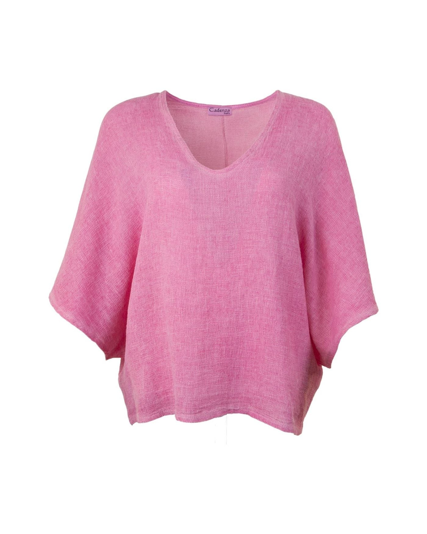 Cadenza Italy Cotton and Linen Mix Top - Pink