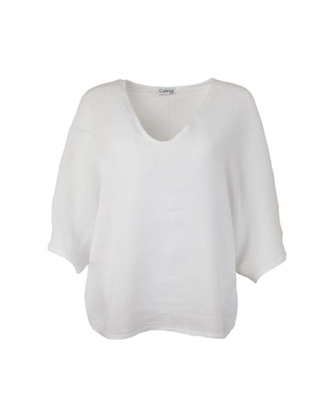 Cadenza Italy Cotton and Linen Mix Top - White