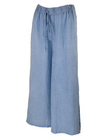 Cadenza Italy Cropped Linen Trousers - Sky Blue
